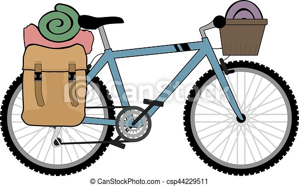 backpacker, fiets, illustratie - csp44229511