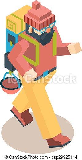 Backpacker Traveler Polygonal Character Walk Concept 3d Isometric