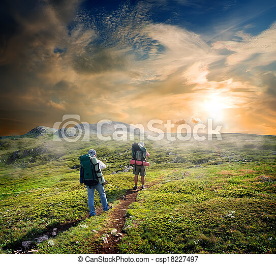 Backpackers in mountains - csp18227497