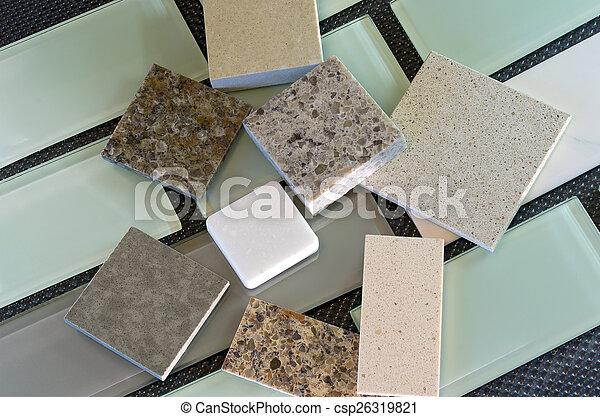 Backsplash tiles and quartz countertop samples - csp26319821
