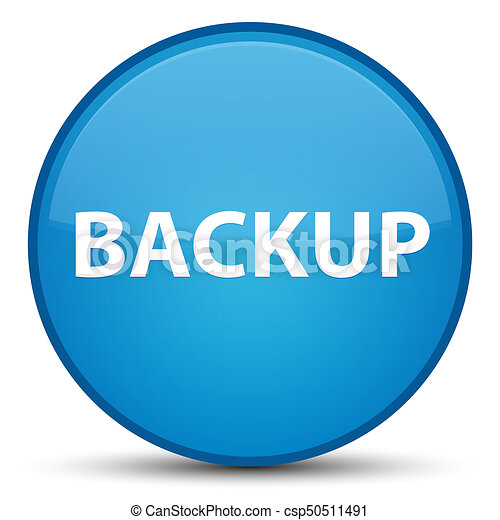 Backup special cyan blue round button - csp50511491