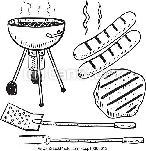 Backyard barbecue equipment sketch - csp10380613