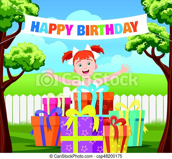 Backyard Birthday Party Scene Cartoon Vector Illustration With With Happy Girl Stack Of Gifts And Ribbon Banner Happy Canstock