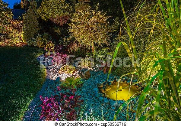 Backyard Garden After Dark - csp50366716