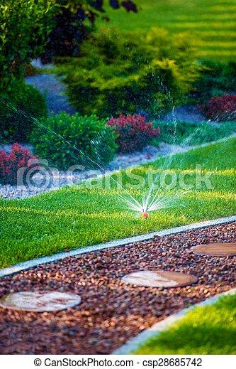 Backyard Garden Watering - csp28685742