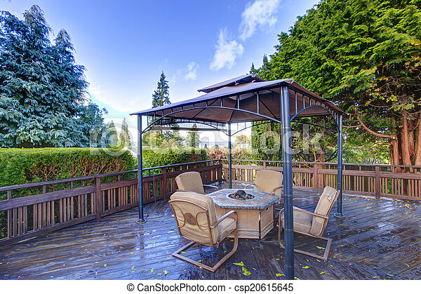 Backyard gazebo with patio set - csp20615645