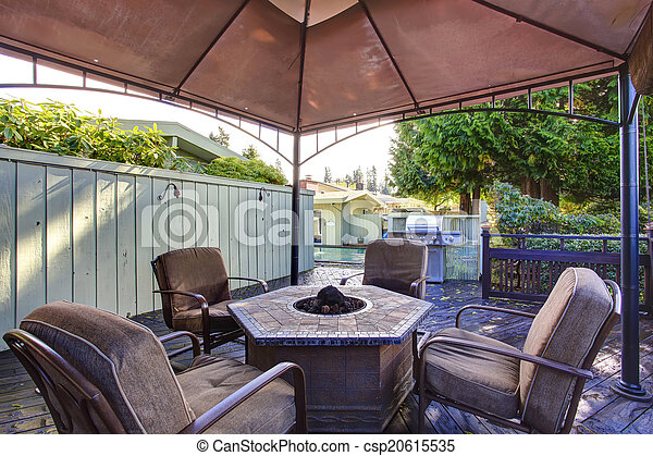 Backyard gazebo with patio set - csp20615535