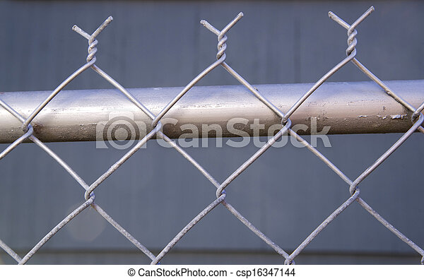 Backyard Re-Painted Metal Chain Link Fence Top Post Wire - csp16347144
