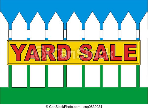 backyard sale yellow yard sale sign in the backyard of the house