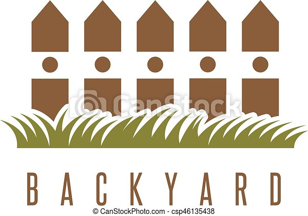 Backyard vector design template with fence and grass.