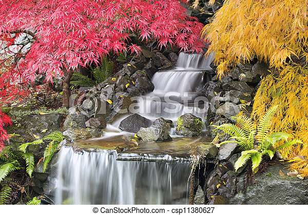Backyard Waterfall with Japanese Maple Trees - csp11380627