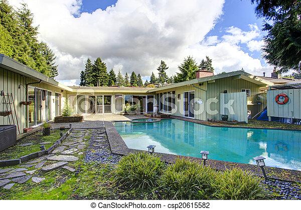 Backyard with swimming pool - csp20615582