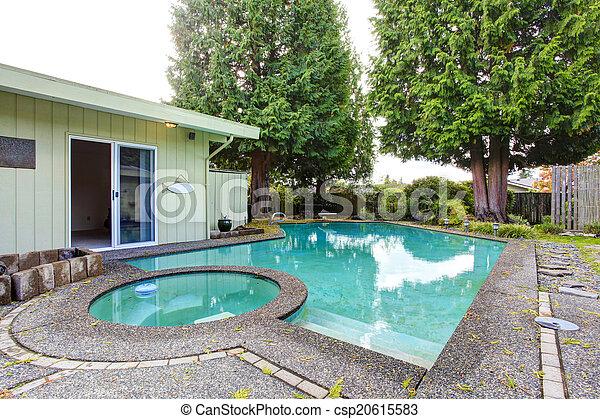 Backyard with swimming pool - csp20615583