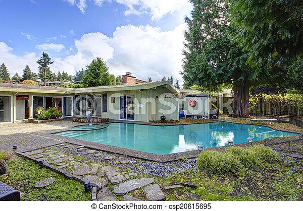 Backyard with swimming pool - csp20615695