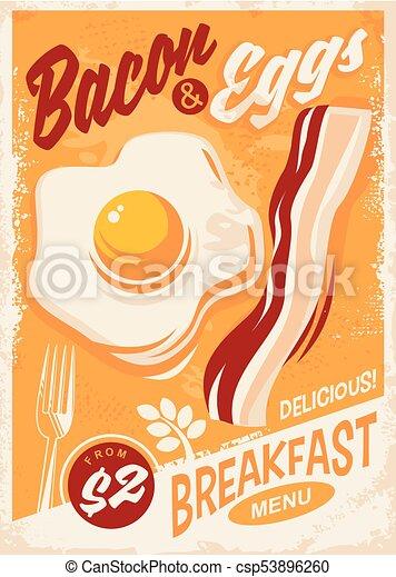 Bacon and Eggs breakfast menu - csp53896260