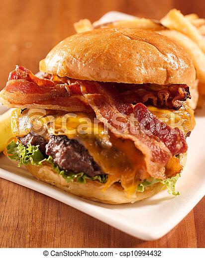 Bacon cheeseburger shot with selective focus - csp10994432