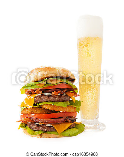 Bacon Double Cheeseburger with Tall Beer - csp16354968