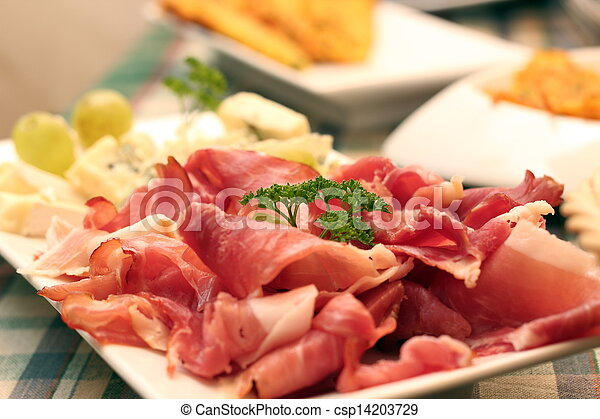 bacon on white plate - csp14203729