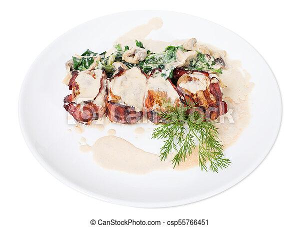 Bacon wrapped pork tenderloin. - csp55766451