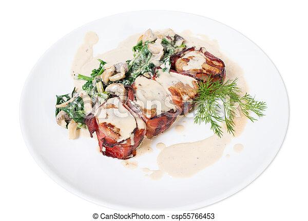 Bacon wrapped pork tenderloin. - csp55766453
