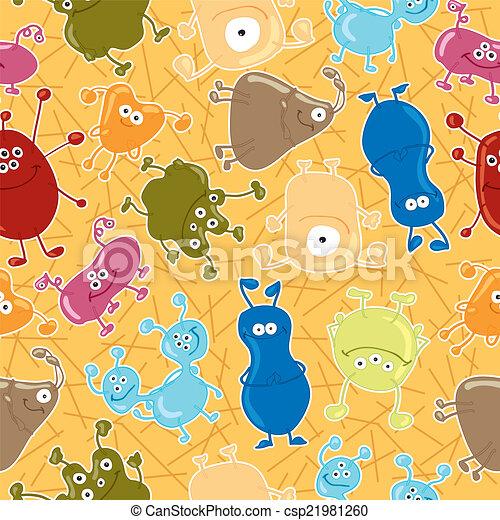 Bacteria. Seamless vector pattern. Medicine background - csp21981260