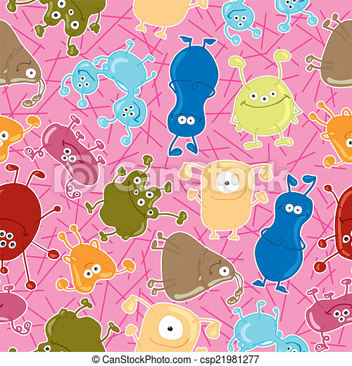Bacteria. Seamless vector pattern. Medicine background - csp21981277