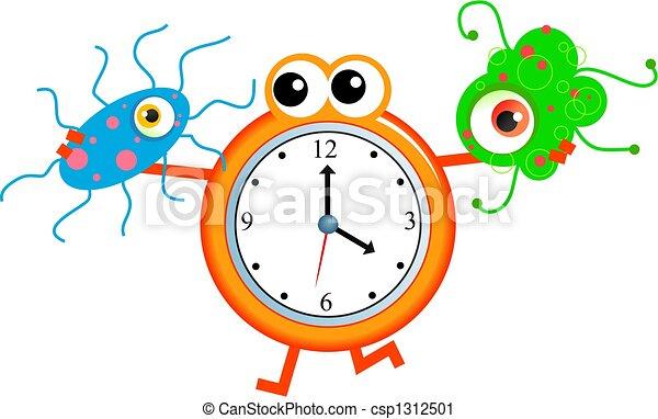 bacteria time cartoon clock man holding a germ virus in clipart rh canstockphoto com Digital Clock Face Funny Clock Face Clip Art