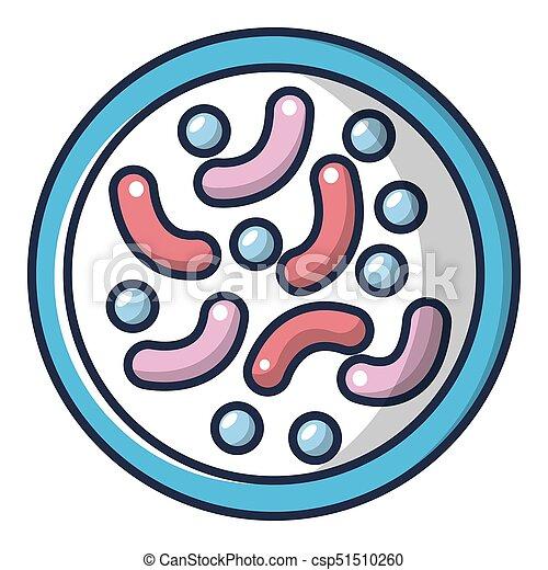 Bacteria under microscope icon, cartoon style