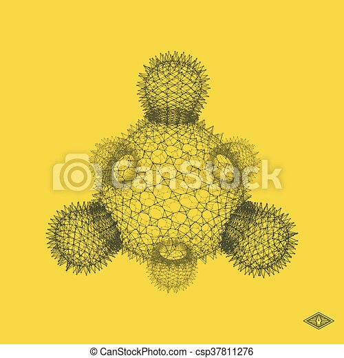 Bacteria. Virus. Graphic Design. 3D Vector Illustration. Connection Structure for Chemistry and Science. - csp37811276