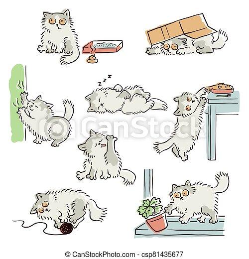 bad behavior of playful naughty cat sketch vector