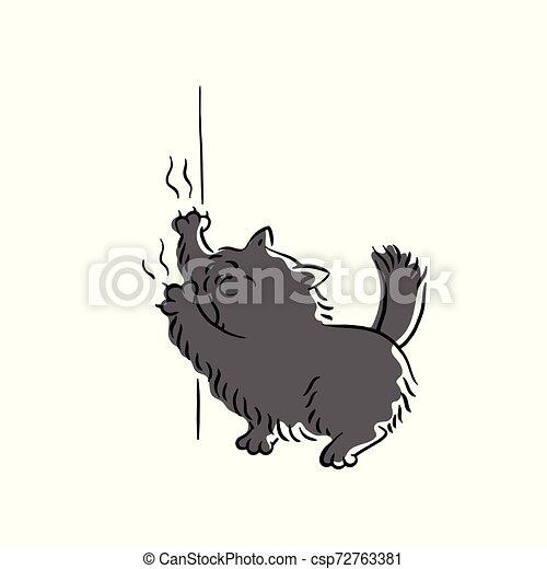 Bad Black Cat Scratching Wallpaper Sketch Cartoon Vector Illustration Isolated Bad Cute Black Cat Scratching Wallpaper