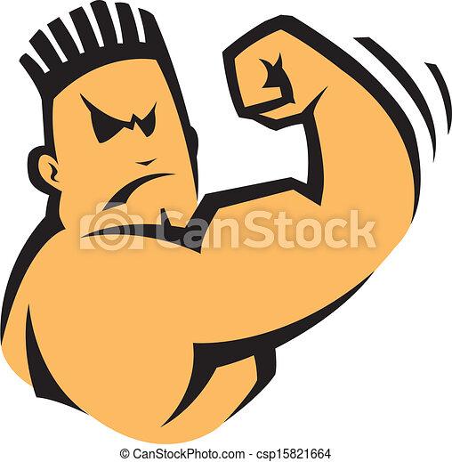 a cartoon bad boy flexing his arm vector file clip art
