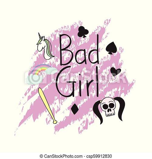 Bad girl t shirt concept art - csp59912830