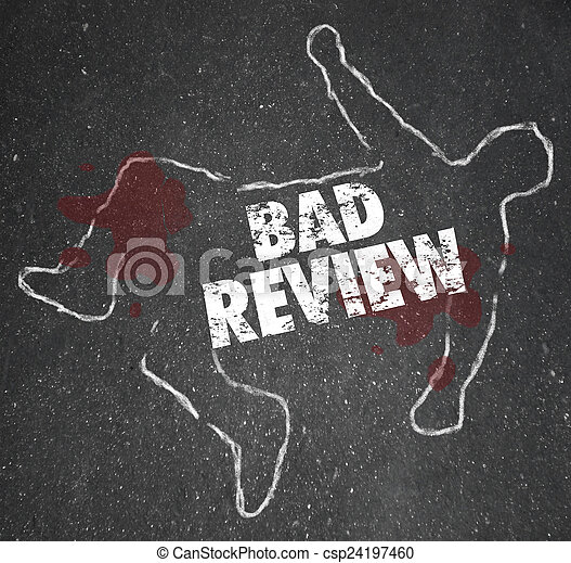 Bad Review Words Chalk Outline Killed by Criticism Negative Feed - csp24197460