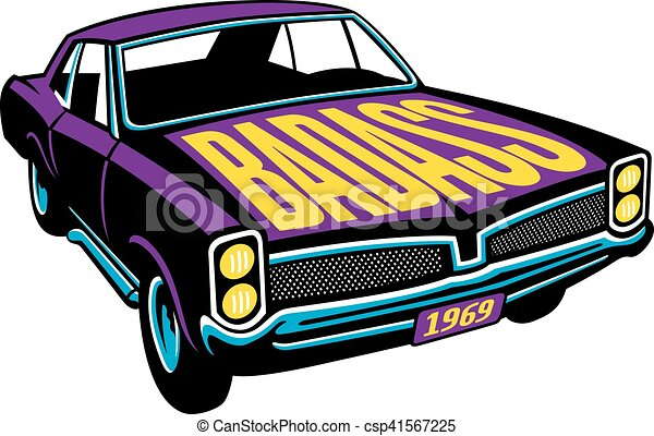Badass Muscle Car Vector Design Vector Illustration Of Vintage