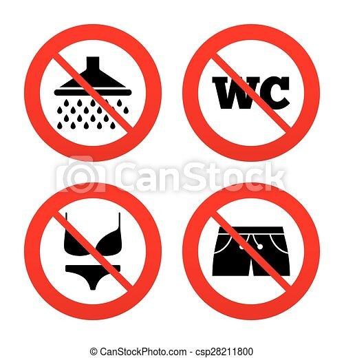 Dusche clipart  Bademode, icons., dusche, teich, signs., schwimmender. Nein ...