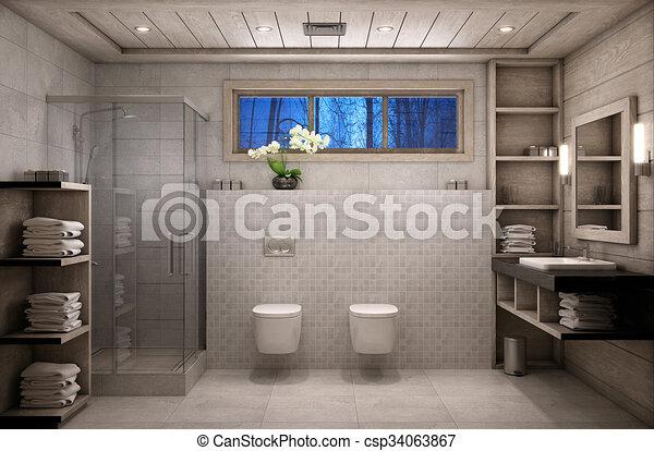 Badezimmer, Chalet, Chalet Style   Csp34063867