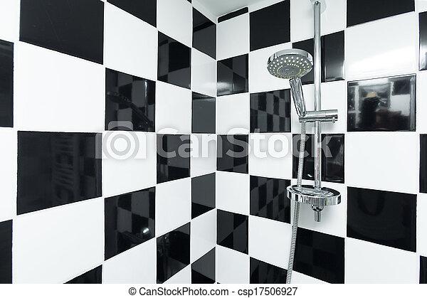 Badezimmer, checkered, modern, dusche, schwarz, weißes, tiles.
