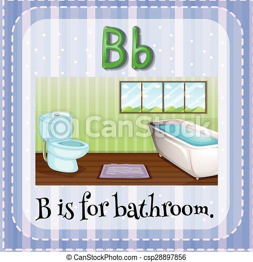 Flashcard, badezimmer, b, brief.