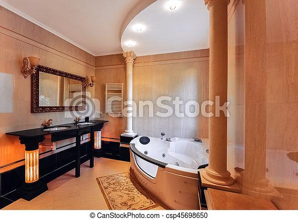 badezimmer, corinthian., klassisch, stil, luxuriös, wände, böden, zwei,  marble., waschbecken, jacuzzi., spalten