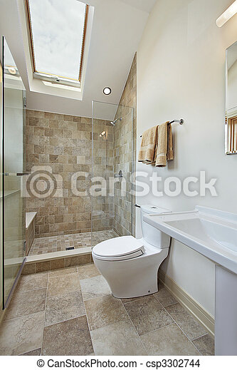 Dusche, stein, badezimmer, dachgeschoss, dachfenster Stockfoto ...