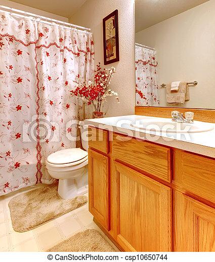 Badezimmer Einfache Dusche Blumig Holz Vorhang