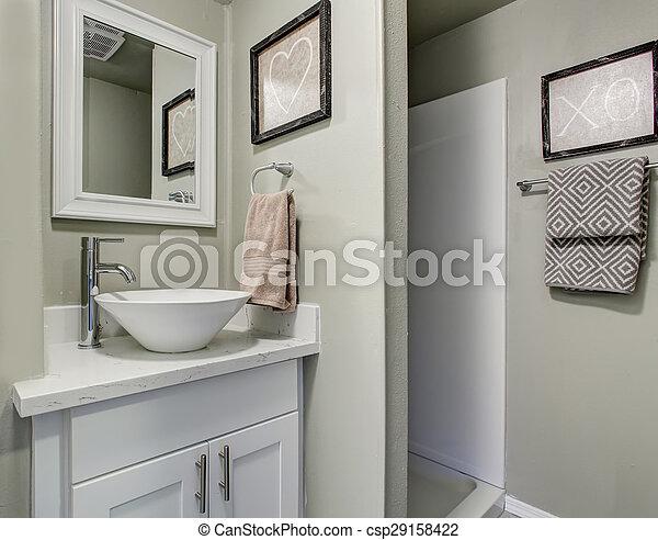 Badezimmer, Einfache , Grau, Wände, Grün, Decor., Nett   Csp29158422
