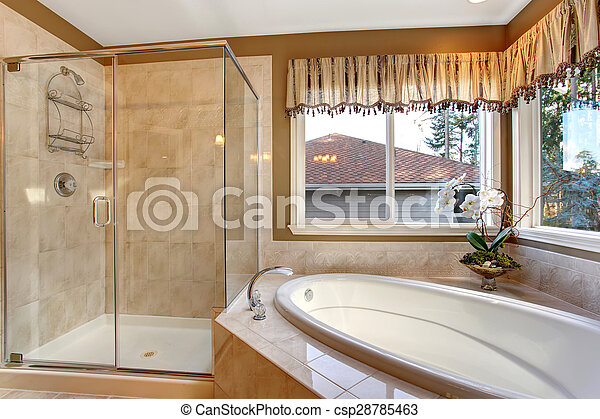 Badezimmer Elegant Shower Grosses Glas Meister Fliese Boden