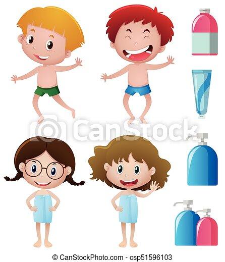 badezimmer, glücklich, accessoirs, kinder