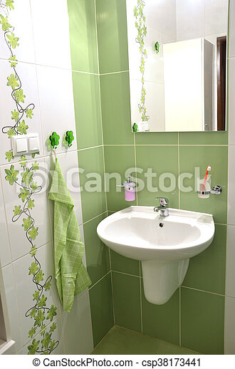 Badezimmer, grün, gekachelt, neu , frisch, weißes, ansicht.