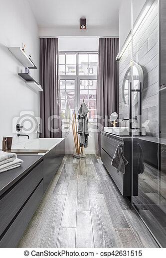 badezimmer, holz, fliesenmuster, effekt