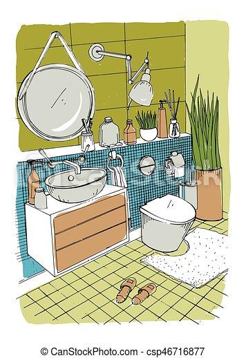 Badezimmer illustration bunte modern skizze hand for Badezimmer clipart