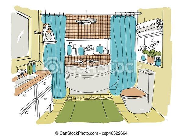 Badezimmer, illustration., bunte, modern, skizze, hand,... Clipart ...