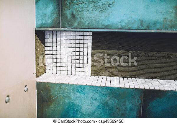 Badezimmer, installation, bereich, muster, area., auf, dusche ...